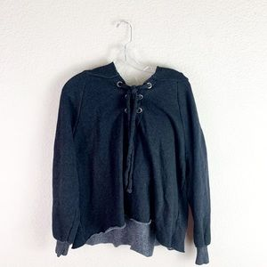 Wildfox lace front hoodie poncho sweater
